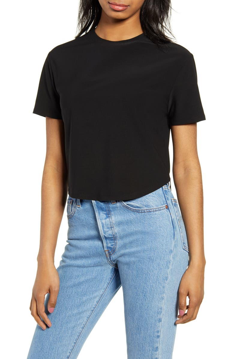 LEITH Crop Baby Tee, Main, color, BLACK
