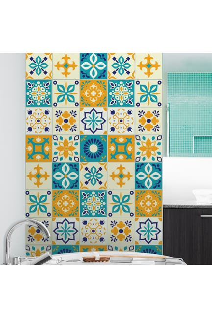 "Image of WalPlus Temara Yellow and Blue Moroccan Wall Tile Sticker Set - 15cm x 15 cm (6"" x 6"") - 24-Piece"
