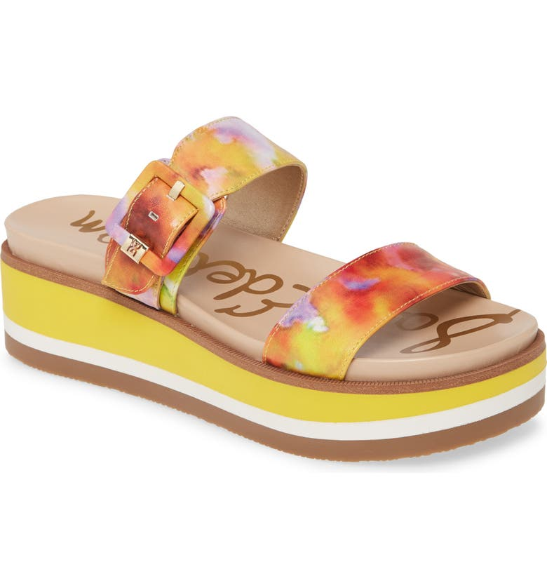 SAM EDELMAN Agustine Platform Sandal, Main, color, LEMON ZEST MULTI LEATHER