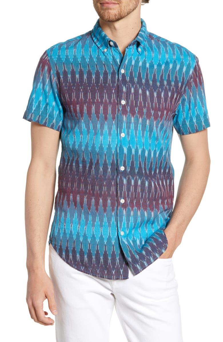 BONOBOS Riviera Slim Fit Ranchero Ikat Print Short Sleeve Button-Down Shirt, Main, color, RANCHERO IKAT