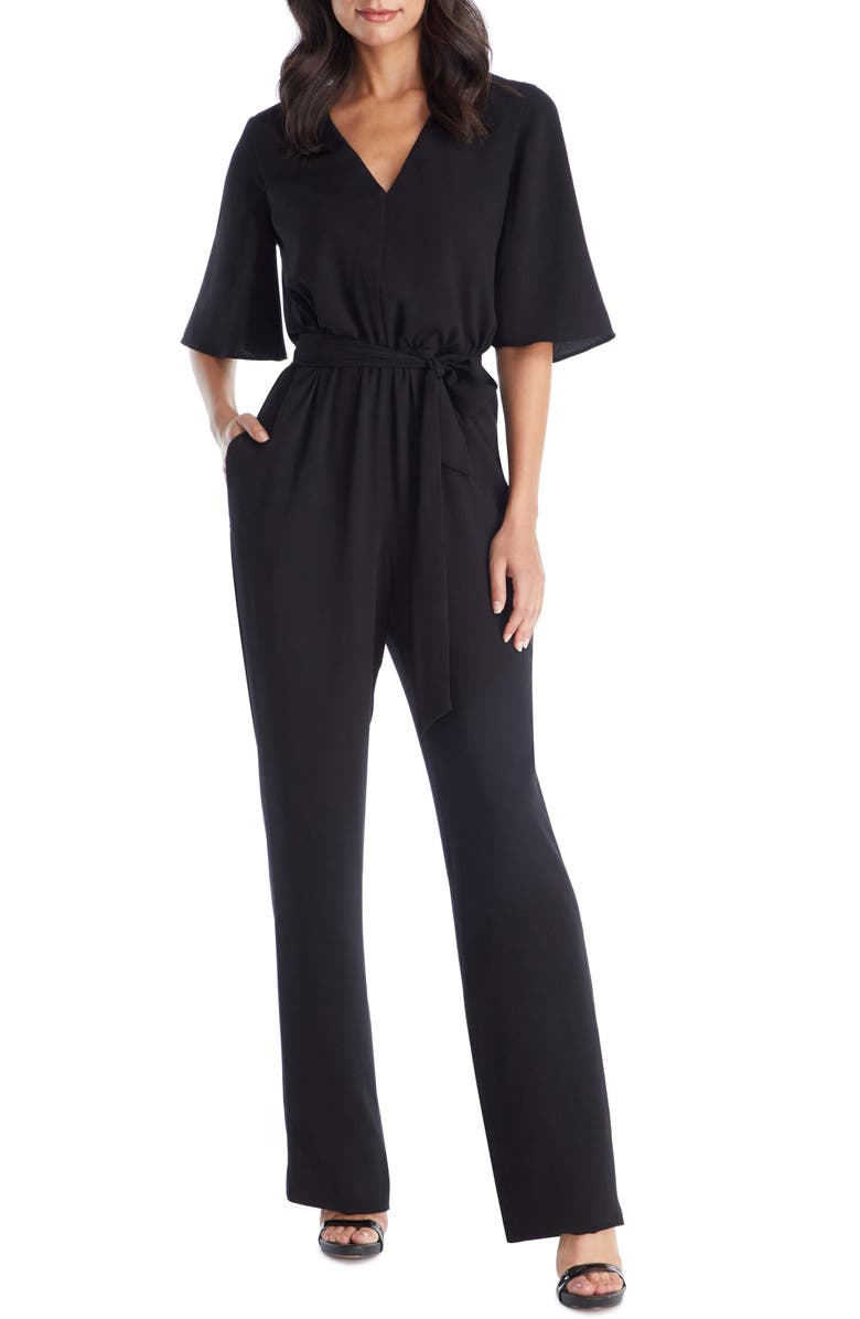 DRESS THE POPULATION Cristina Bell Sleeve Jumpsuit, Main, color, 001