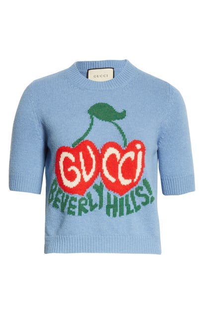 Gucci Knits BEVERLY HILLS CHERRY INTARSIA WOOL CROP SWEATER