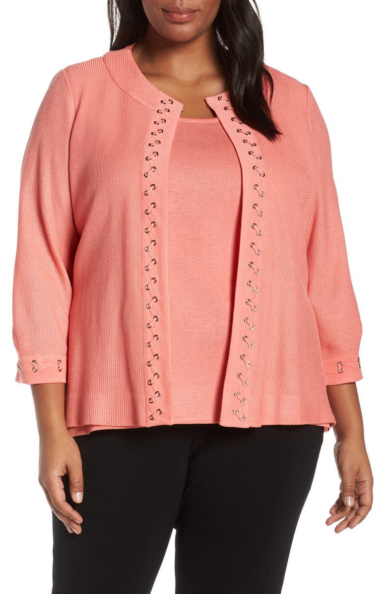 MING WANG Whipstitch Detail Cardigan, Main, color, 807