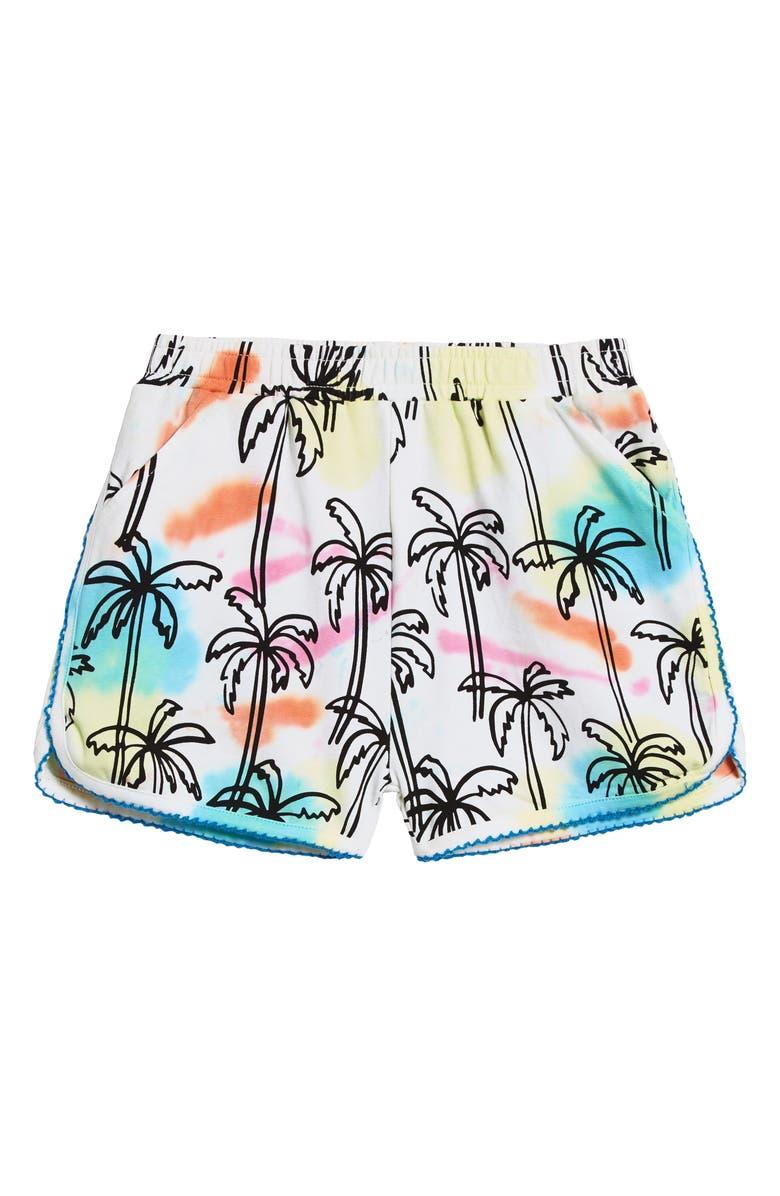 ART & EDEN Hillary Picot Trim Palm Print Shorts, Main, color, MULTI COLOR TIE DYE PALM TREE