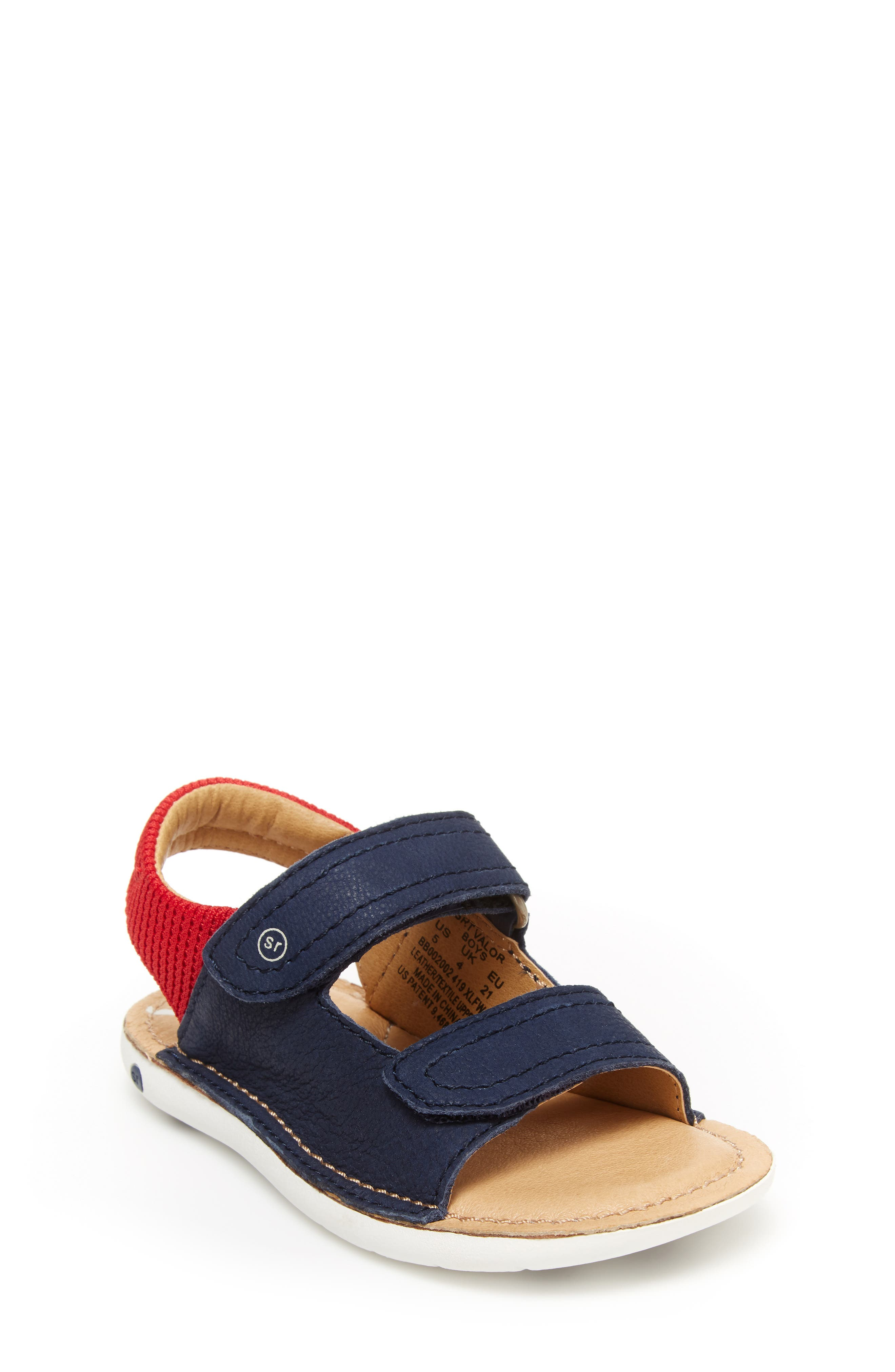 A memory foam footbed enhances the comfort and support of this breezy hook-and-loop sandal. Style Name: Stride Rite Valor Sandal (Baby, Walker & Toddler). Style Number: 5978065. Available in stores.