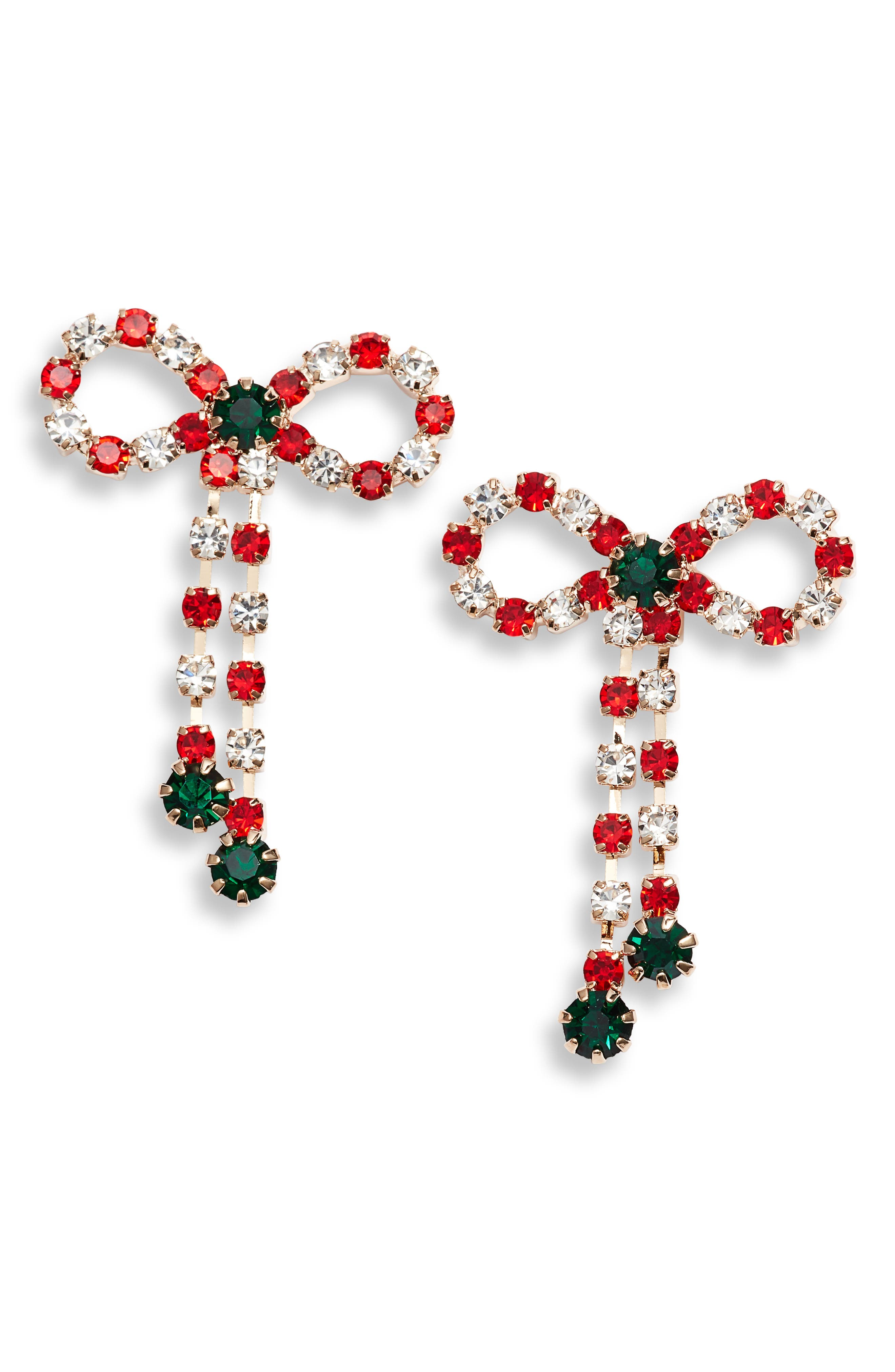 Crystal Christmas Bow Earrings