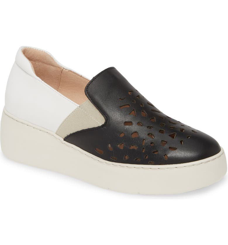 WONDERS Slip-On Sneaker, Main, color, BLACK/ OFF-WHITE LEATHER