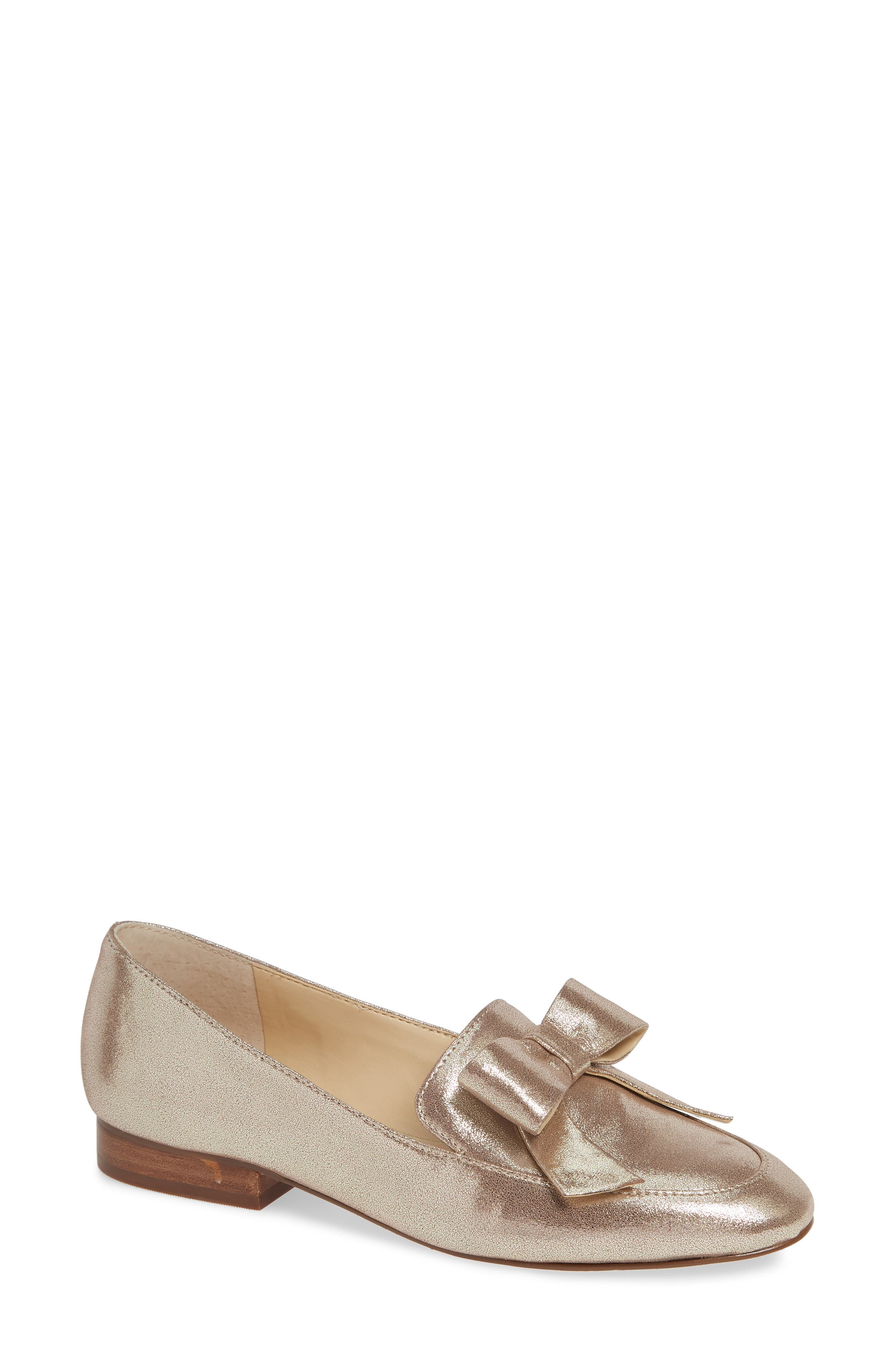 Sole Society Tannse Bow Loafer- Metallic