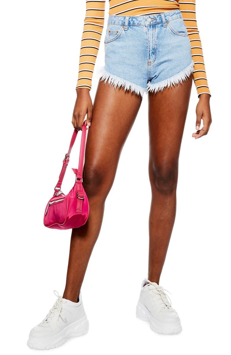 TOPSHOP Kiri Cutoff High Waist Shorts, Main, color, MID DENIM