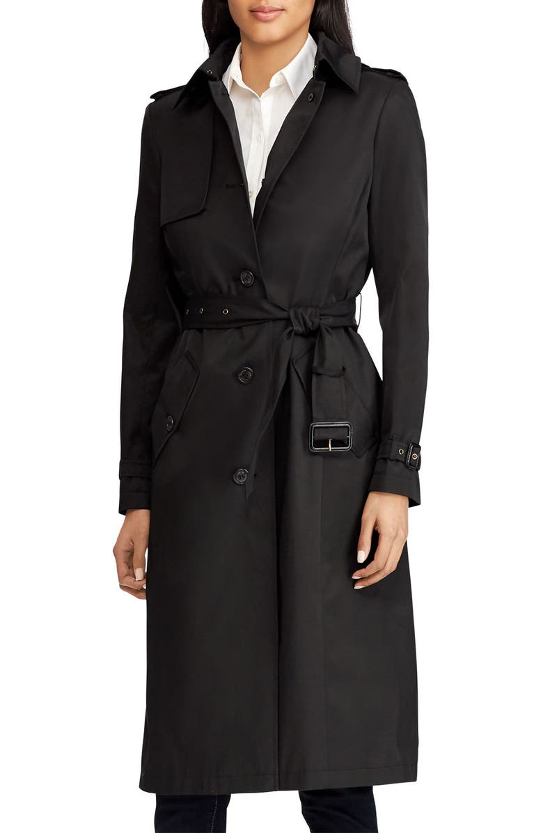 LAUREN RALPH LAUREN Hooded Trench Coat, Main, color, 001