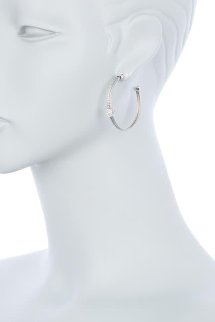 Image of Charriol 18K White Gold Diamond Steel Cable Open Hoop Earrings