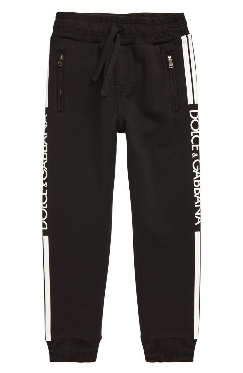 DOLCE&GABBANA Logo Stripe Jogger Sweatpants, Main, color, NERO