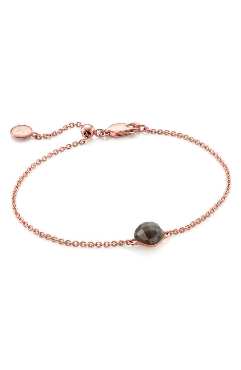 MONICA VINADER Nura Mini Nugget Bracelet, Main, color, ROSE GOLD/ LABRADORITE