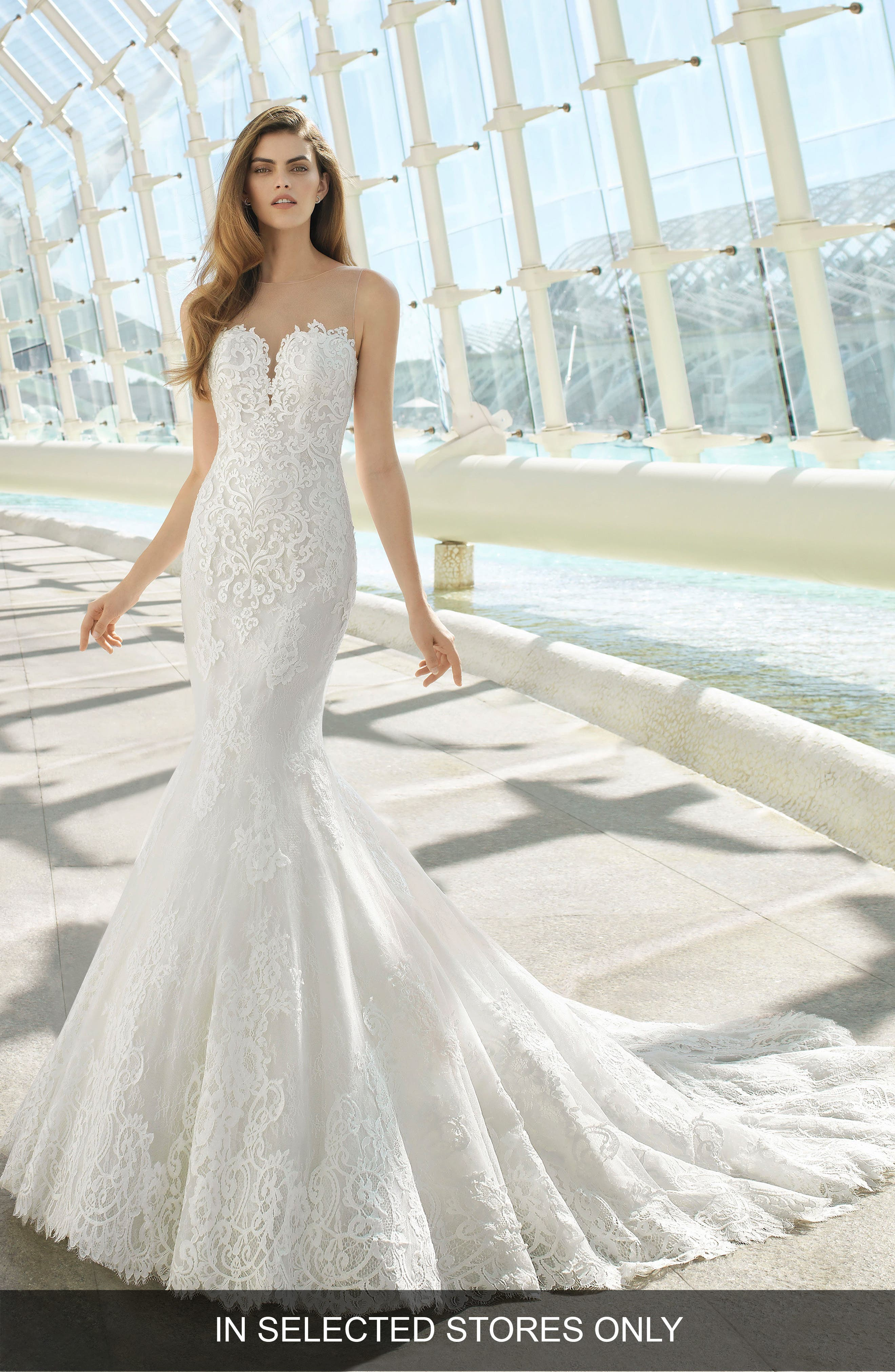 Rosa Clara Day Illusion Lace Mermaid Gown, Size IN STORE ONLY - White