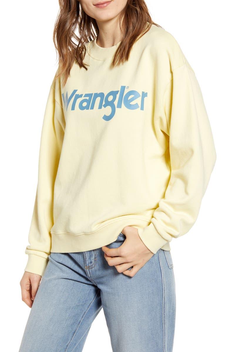WRANGLER '80s Retro Sweatshirt, Main, color, FRENCH VANILLA