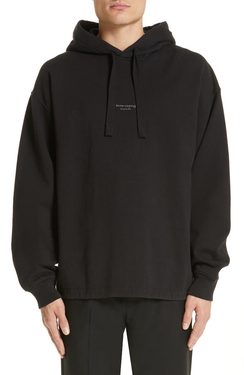 ACNE STUDIOS Fagen Oversize Hoodie, Main, color, BLACK