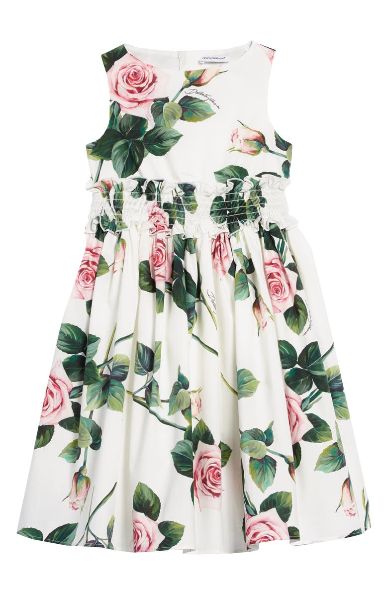 DOLCE&GABBANA Floral Cotton Dress, Main, color, ROSE ROSA FDO.PANNA