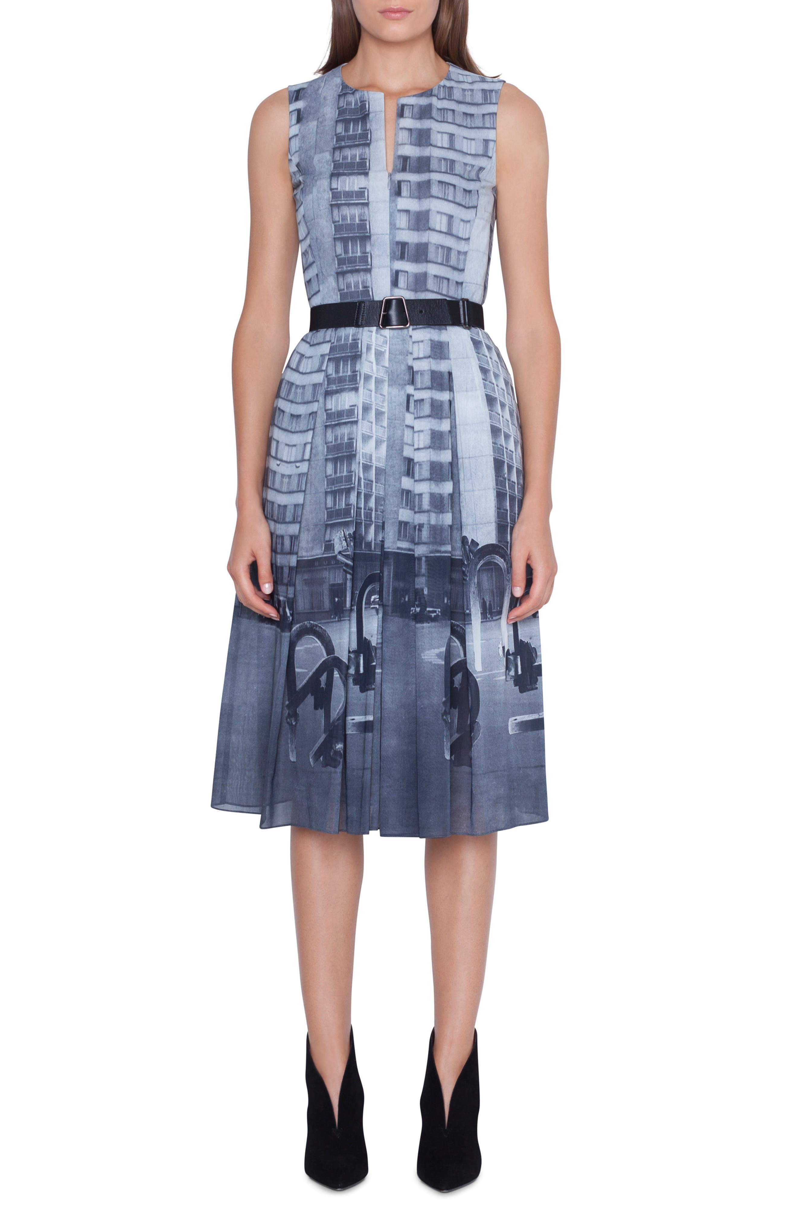 Akris Magnets In The City Print Dress, Grey