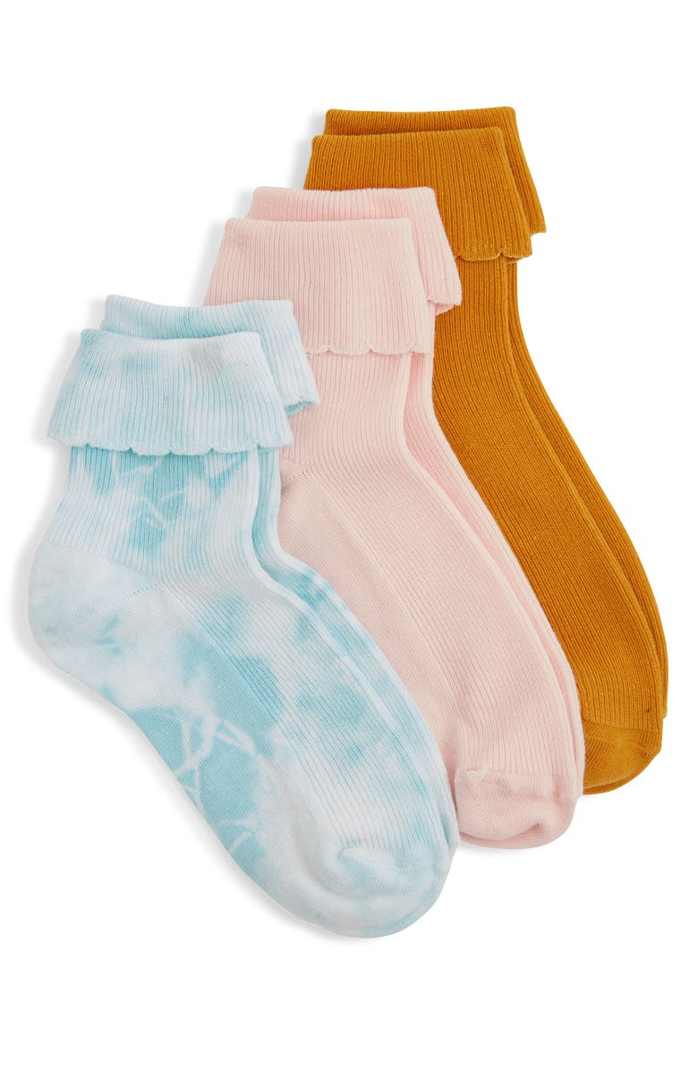 BP. 3-Pack Scalloped Ankle Socks, Main, color, BLUE MERCHANT MULTI