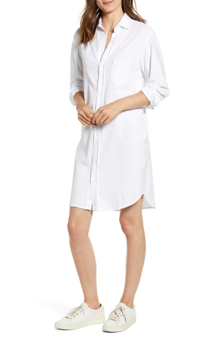 FRANK & EILEEN TEE LAB Relaxed Button-Up Shirtdress, Main, color, WHITE