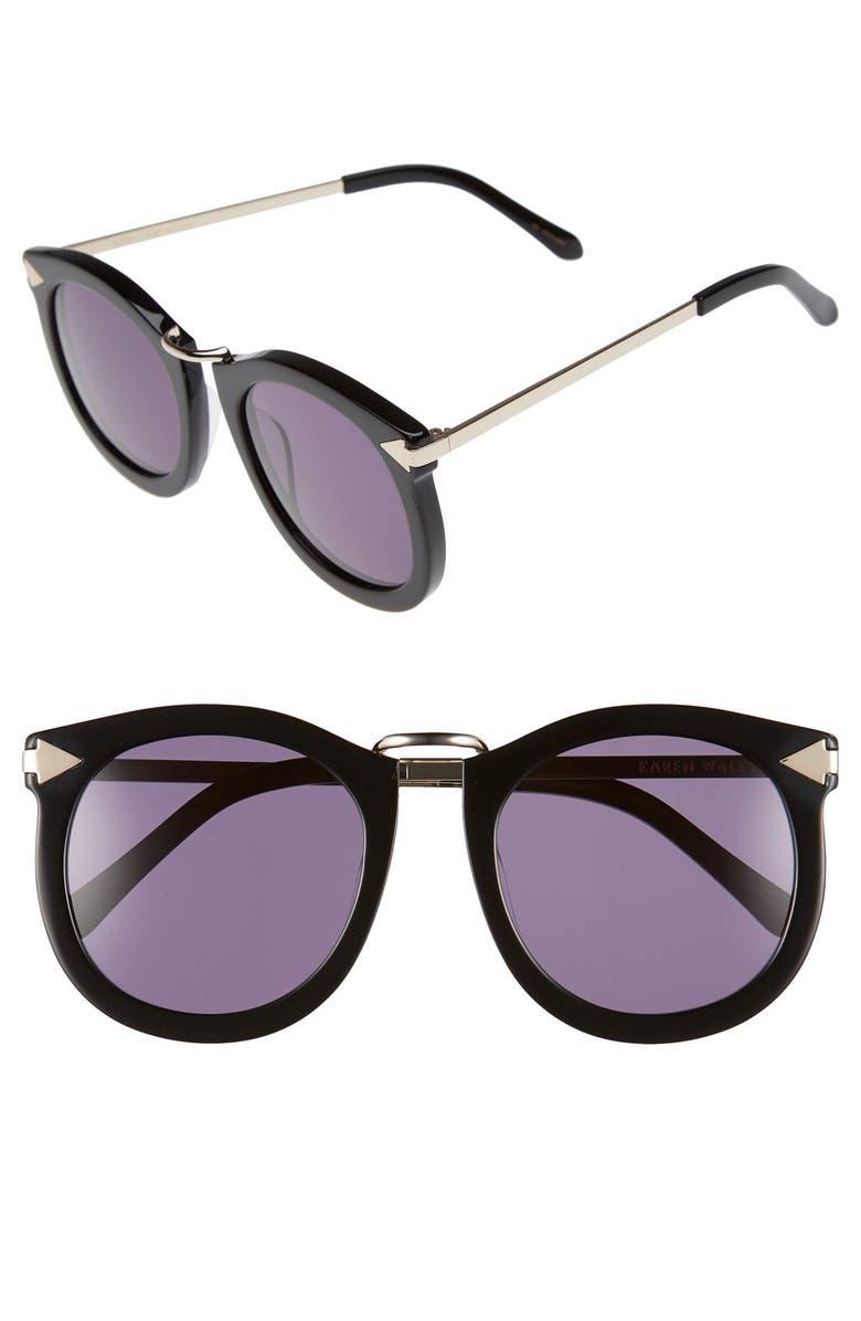 KAREN WALKER 'Super Lunar - Arrowed by Karen' 52mm Sunglasses, Main, color, 001