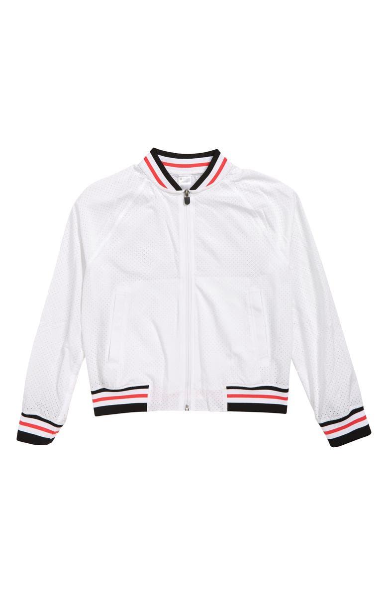 ZELLA GIRL Mesh Bomber Jacket, Main, color, 100
