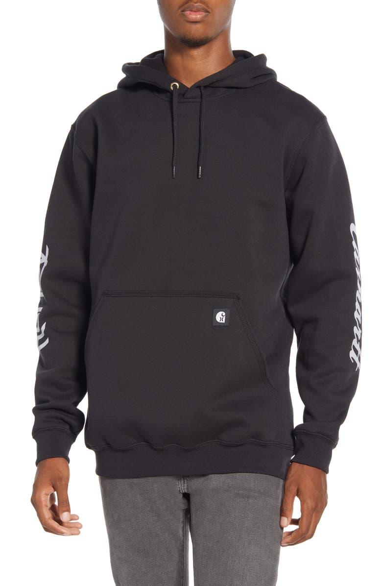 HURLEY x Carhartt Water Repellent Hooded Sweatshirt, Main, color, 010