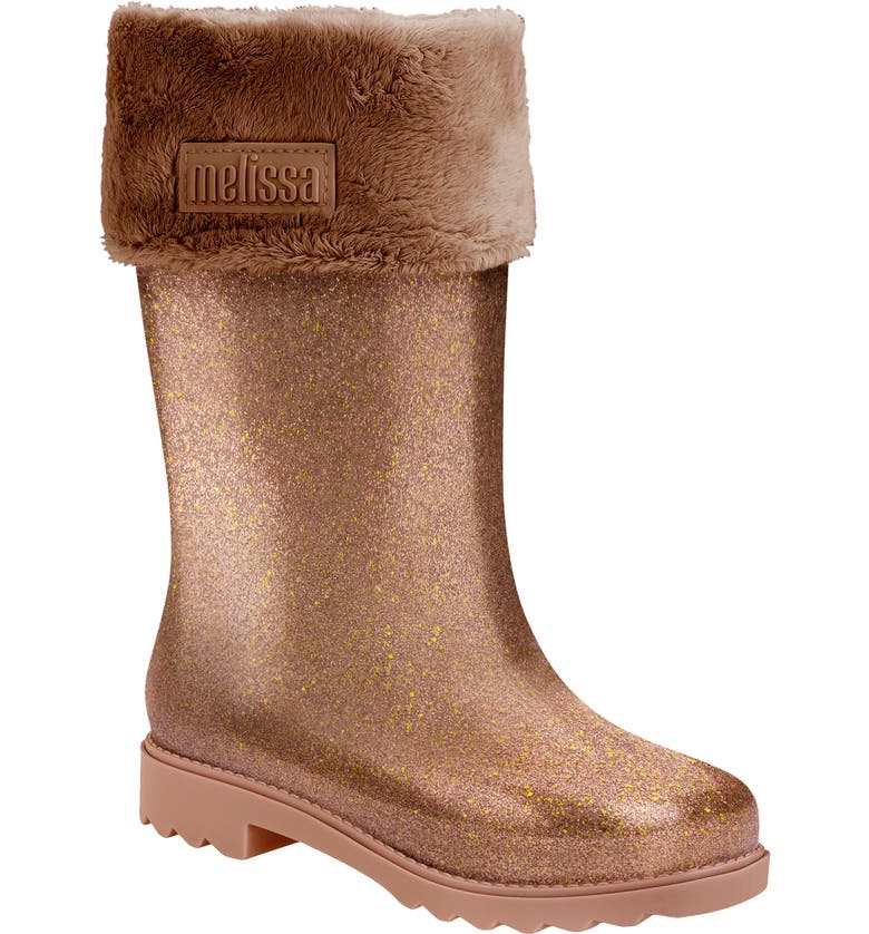 MEL BY MELISSA Mini Melissa Glitter Water Resistant Rain Boot, Main, color, BROWN