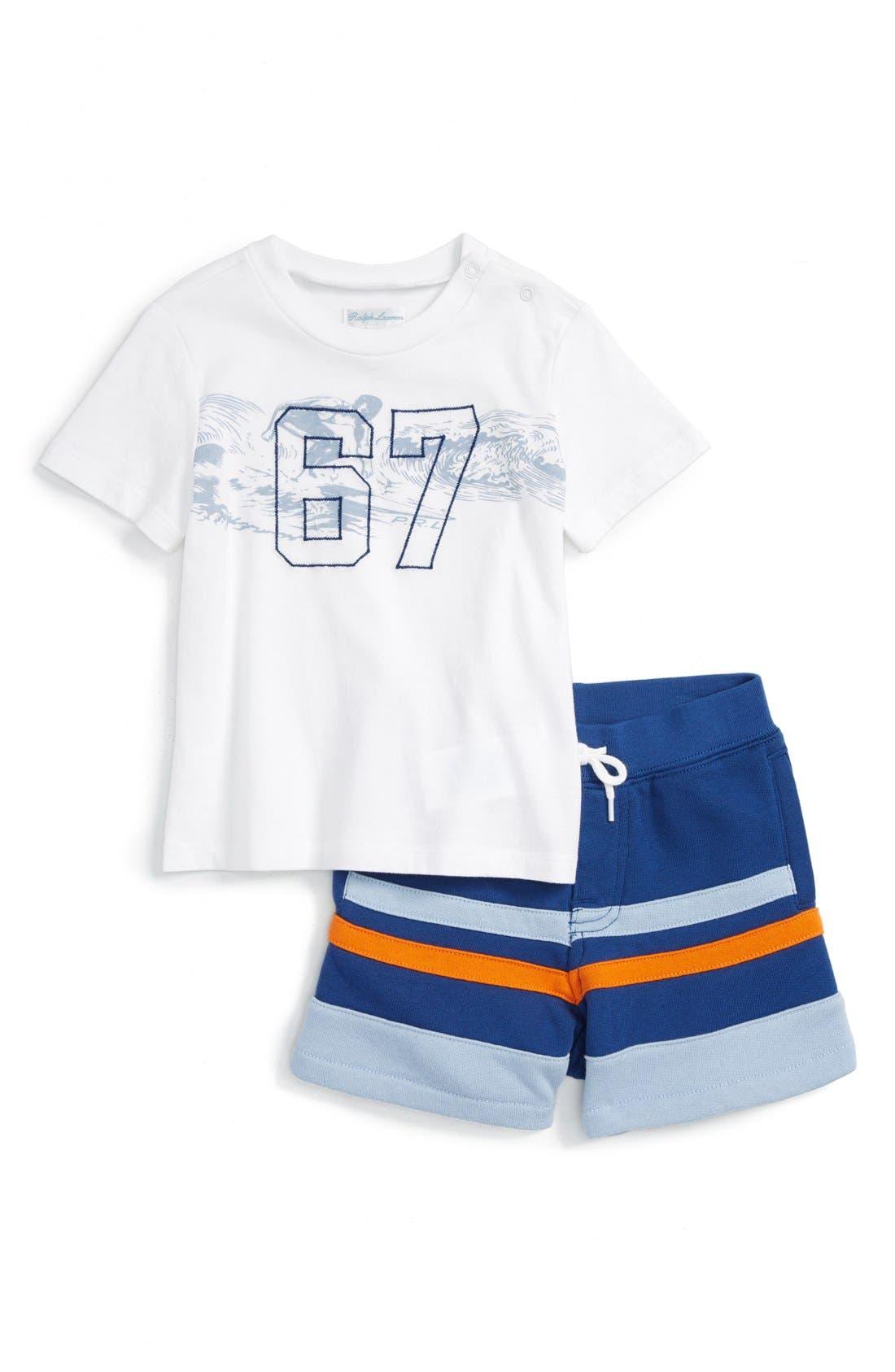 RALPH LAUREN Baby Boys Graphic T-Shirt /& Striped Shorts Set