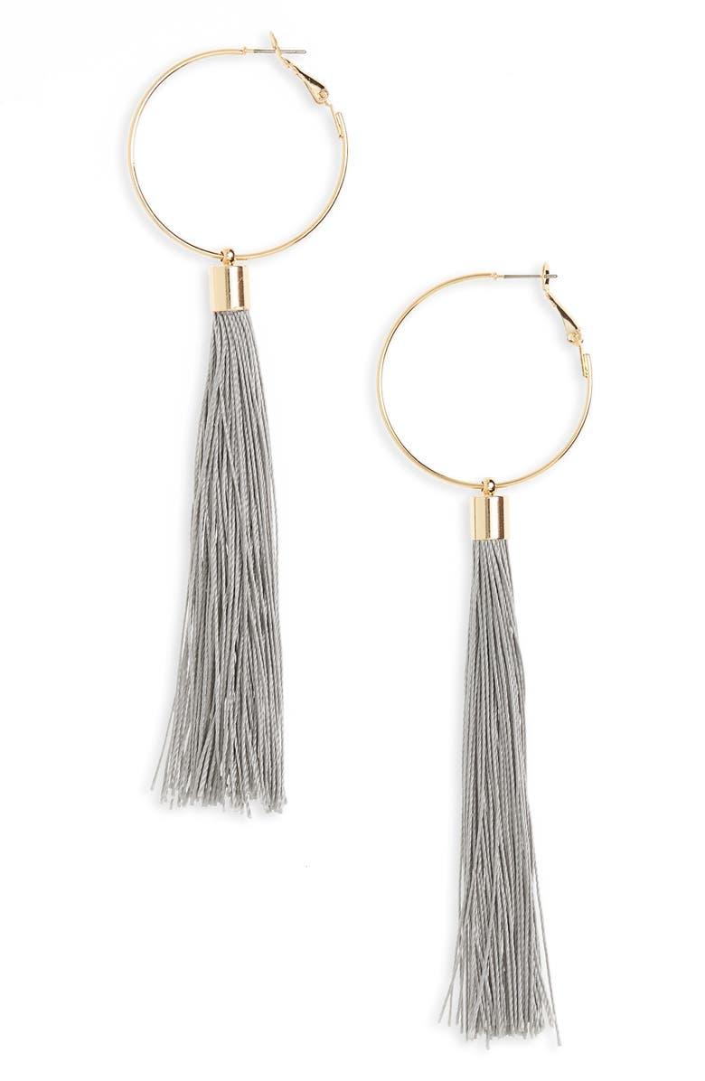 PANACEA Tassel Hoop Earrings, Main, color, 020