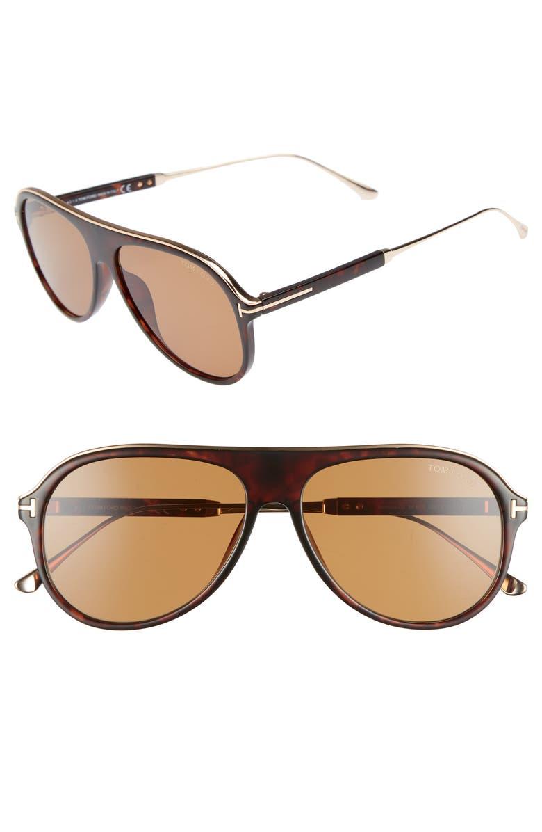 TOM FORD Nicholai 57mm Aviator Sunglasses, Main, color, DARK HAVANA/ BROWN