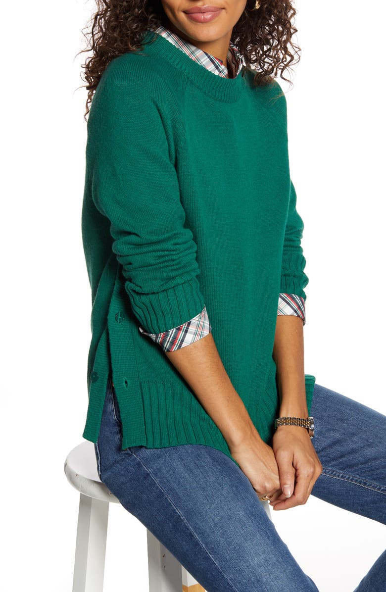 1901 Side Button Sweater, Main, color, GREEN EVERGREEN