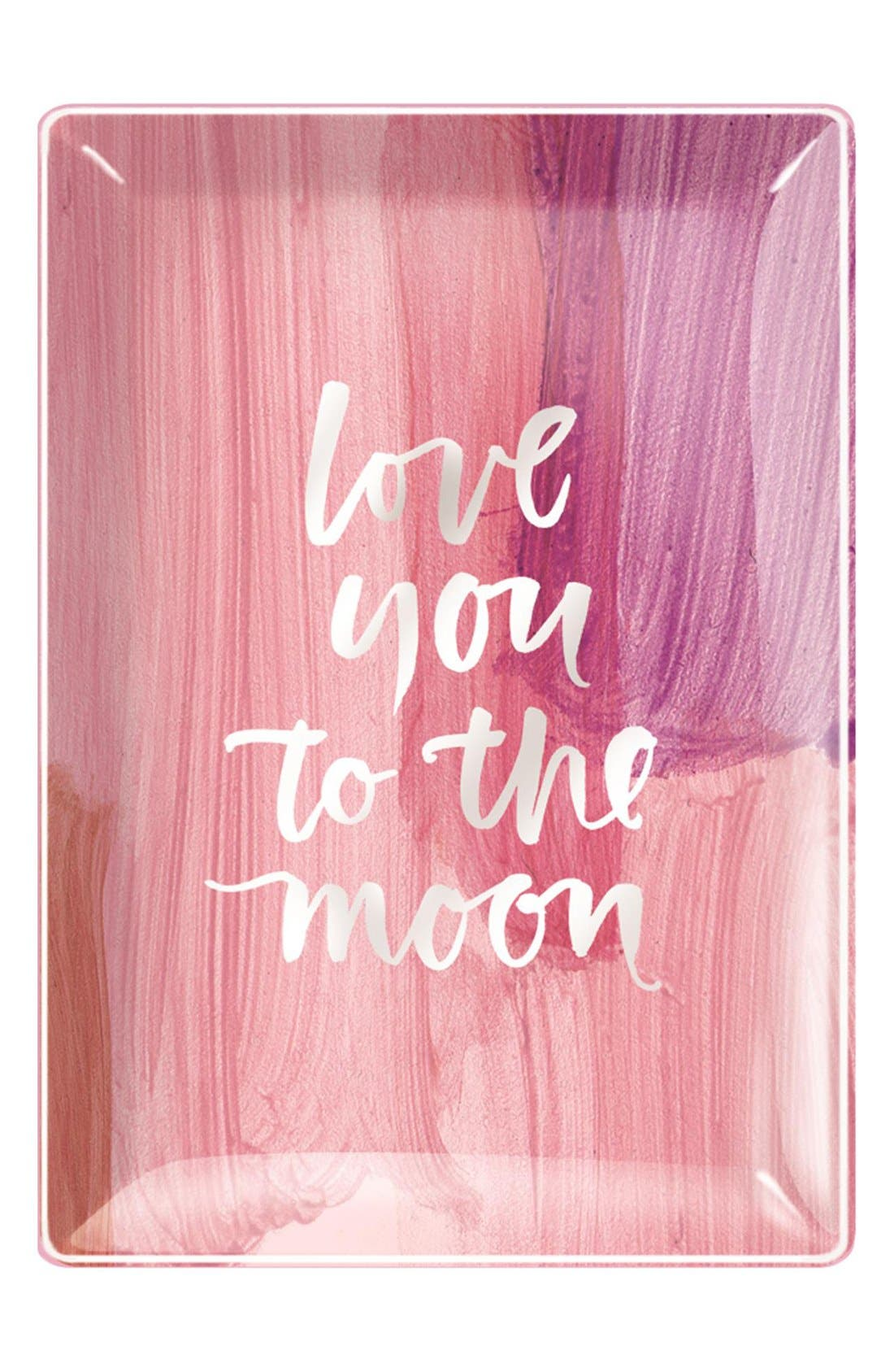 'Love You To The Moon' Glass Trinket Tray, Main, color, 650