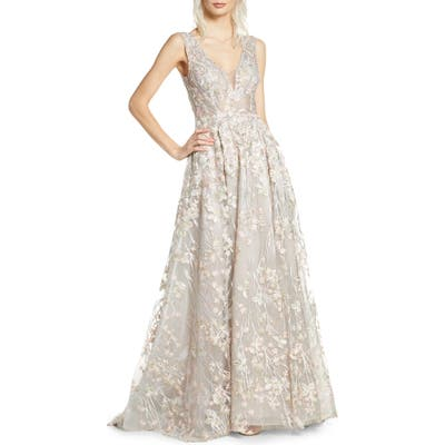 MAC Duggal Floral Embroidered V-Neck Gown, Ivory