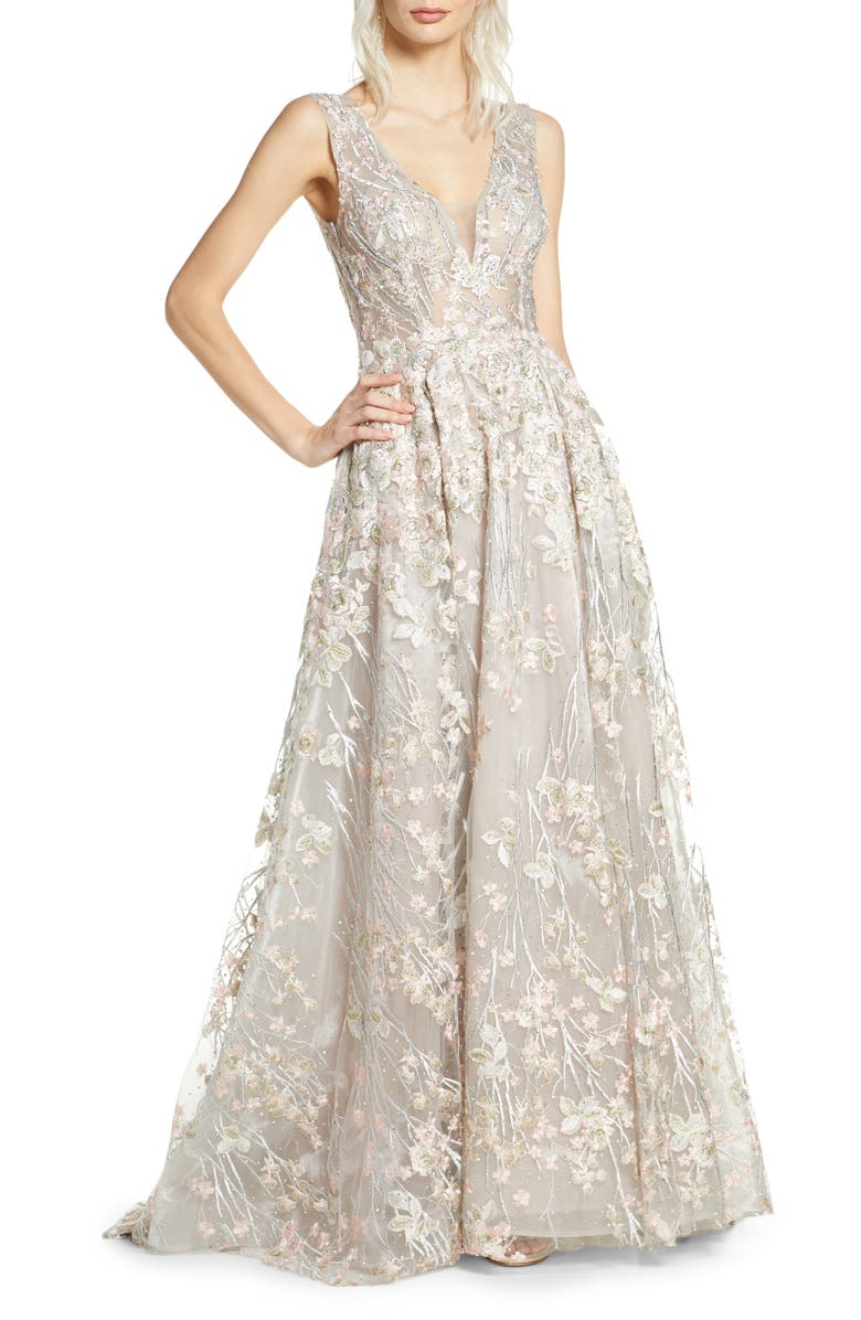 MAC DUGGAL Floral Embroidered V-Neck Gown, Main, color, FLORAL MULTI
