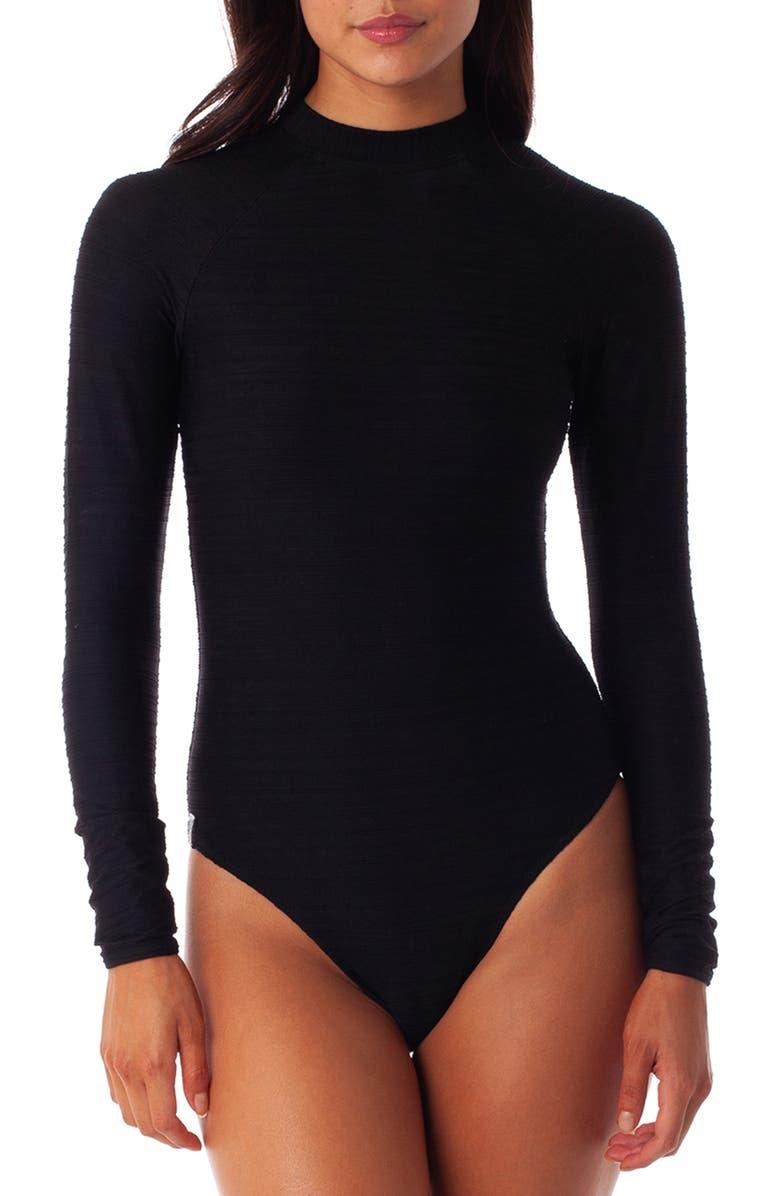 RHYTHM Tahiti Long Sleeve One-Piece Swimsuit, Main, color, BLACK