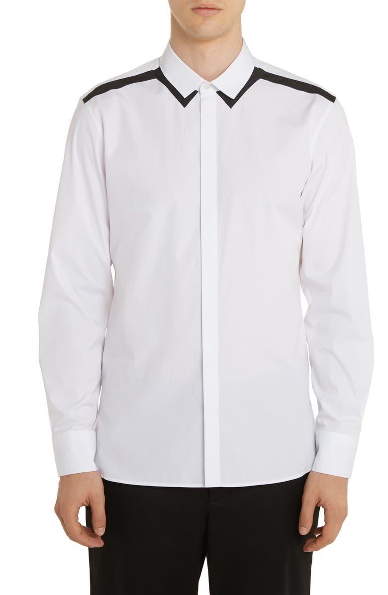 NEIL BARRETT Poplin Button-Up Shirt, Main, color, WHITE/ BLACK