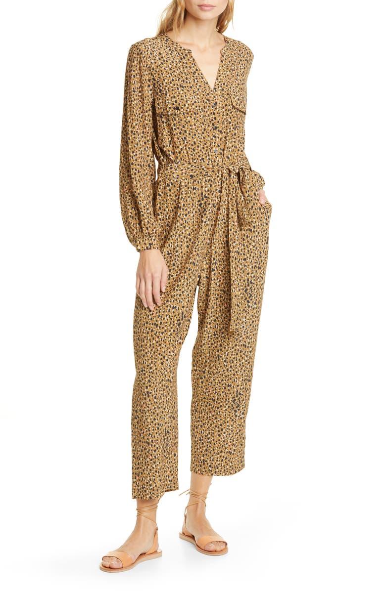 DOLAN Neela Cheetah Print Long Sleeve Jumpsuit, Main, color, TANIMAL