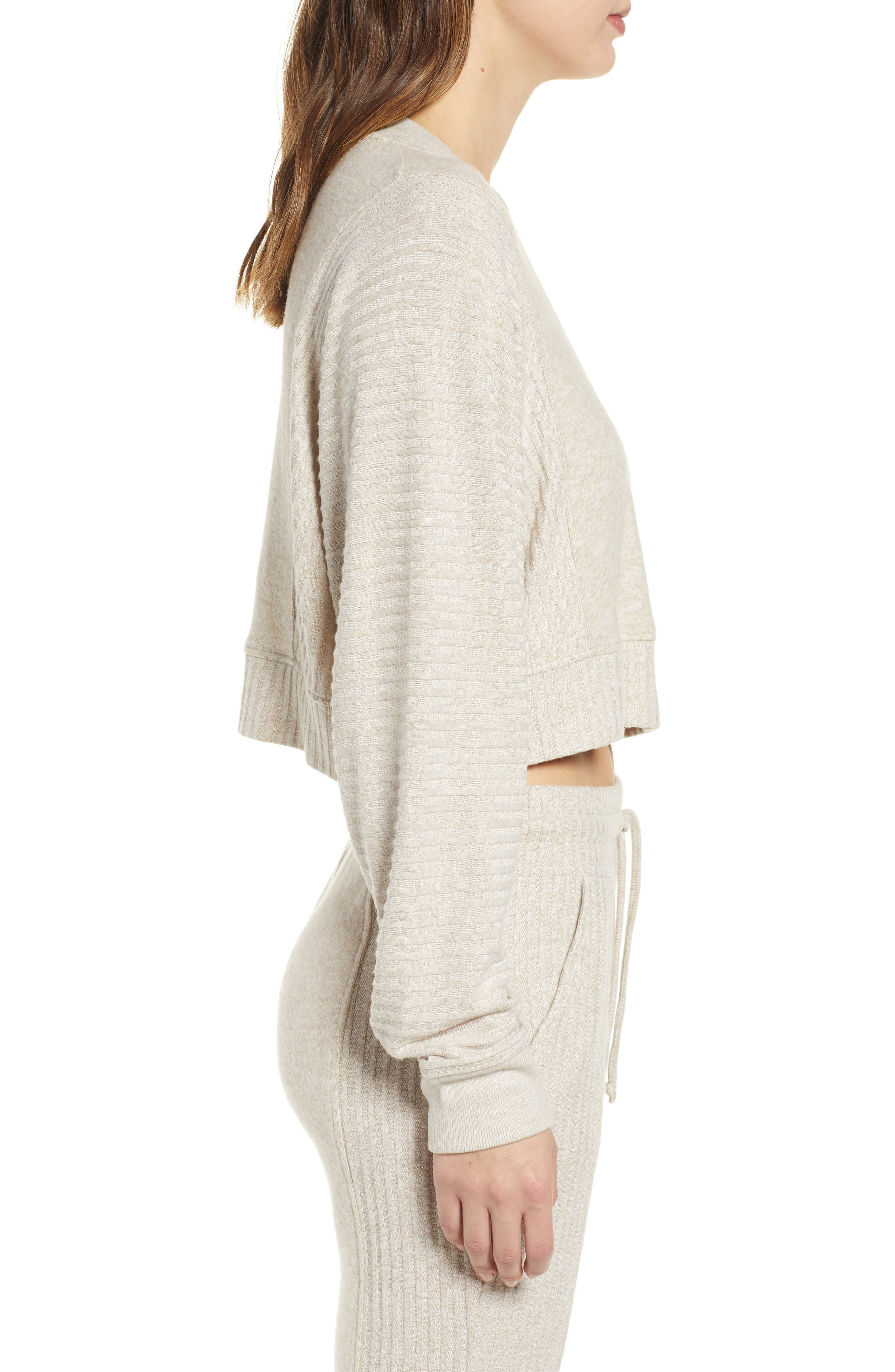 ,                             Contrast Rib Crop Lounge Sweatshirt,                             Alternate thumbnail 4, color,                             BRAZILIAN SAND