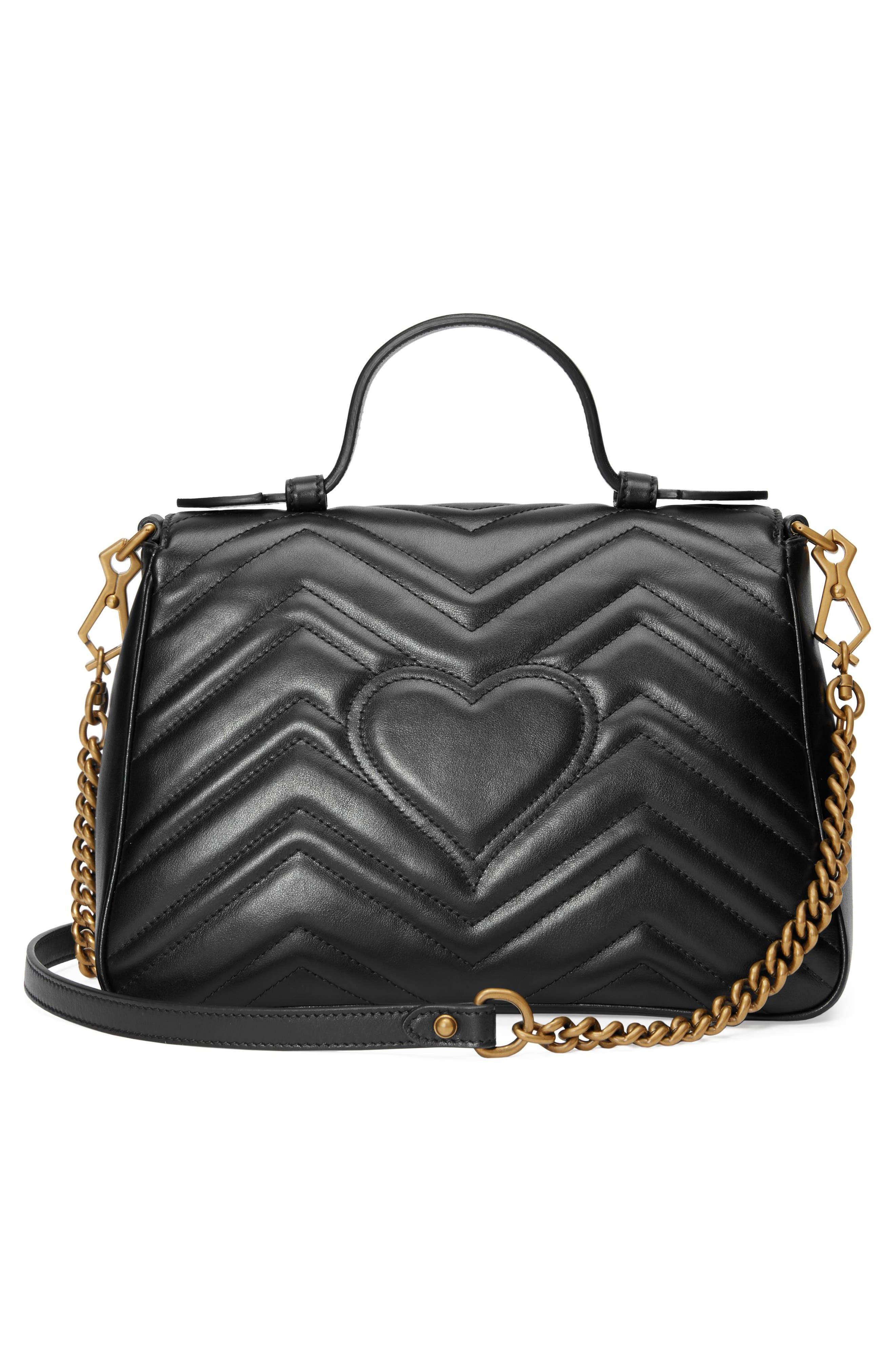 ,                             Small GG Marmont 2.0 Matelassé Leather Top Handle Bag,                             Alternate thumbnail 4, color,                             NERO
