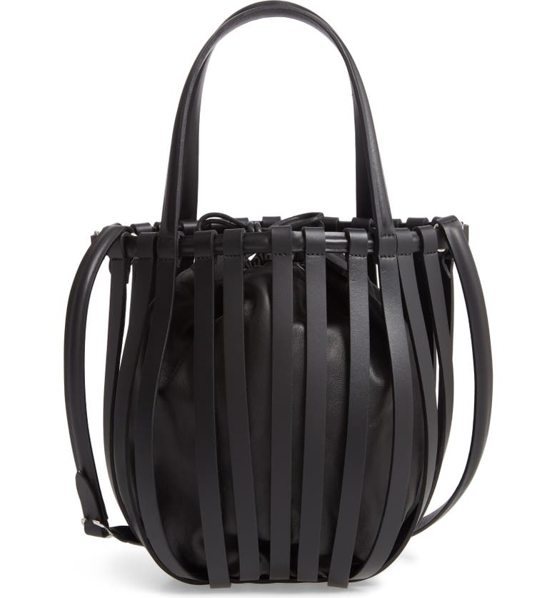 PACO RABANNE Harness Leather Bucket Bag, Main, color, BLACK