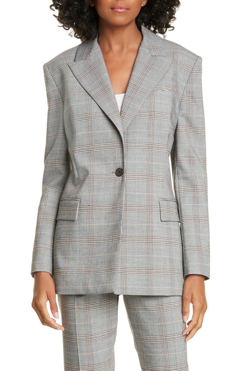 JUDITH & CHARLES Vincenza Plaid Blazer, Main, color, GREY CHECK
