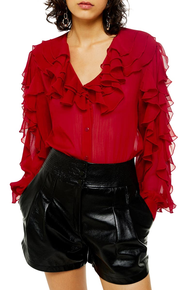 TOPSHOP Ruffle Long Sleeve Blouse, Main, color, RED