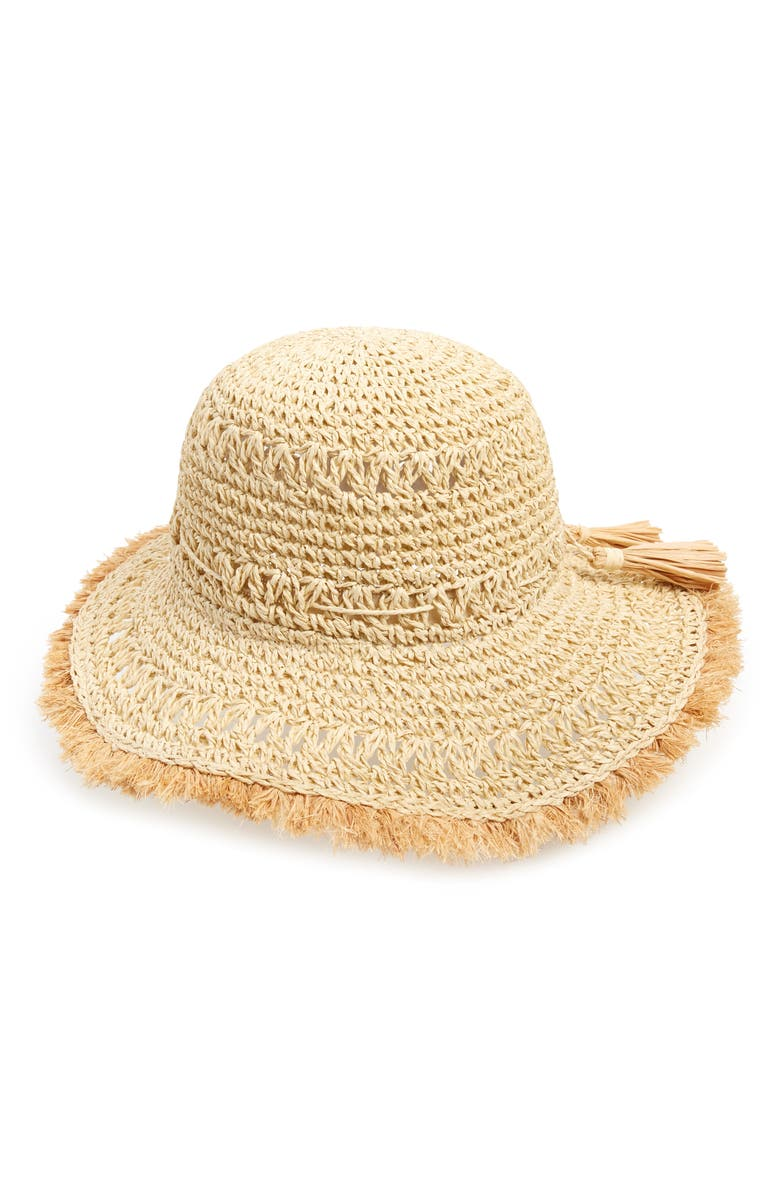 BP. Stripe Woven Straw Bucket Hat, Main, color, NATURAL