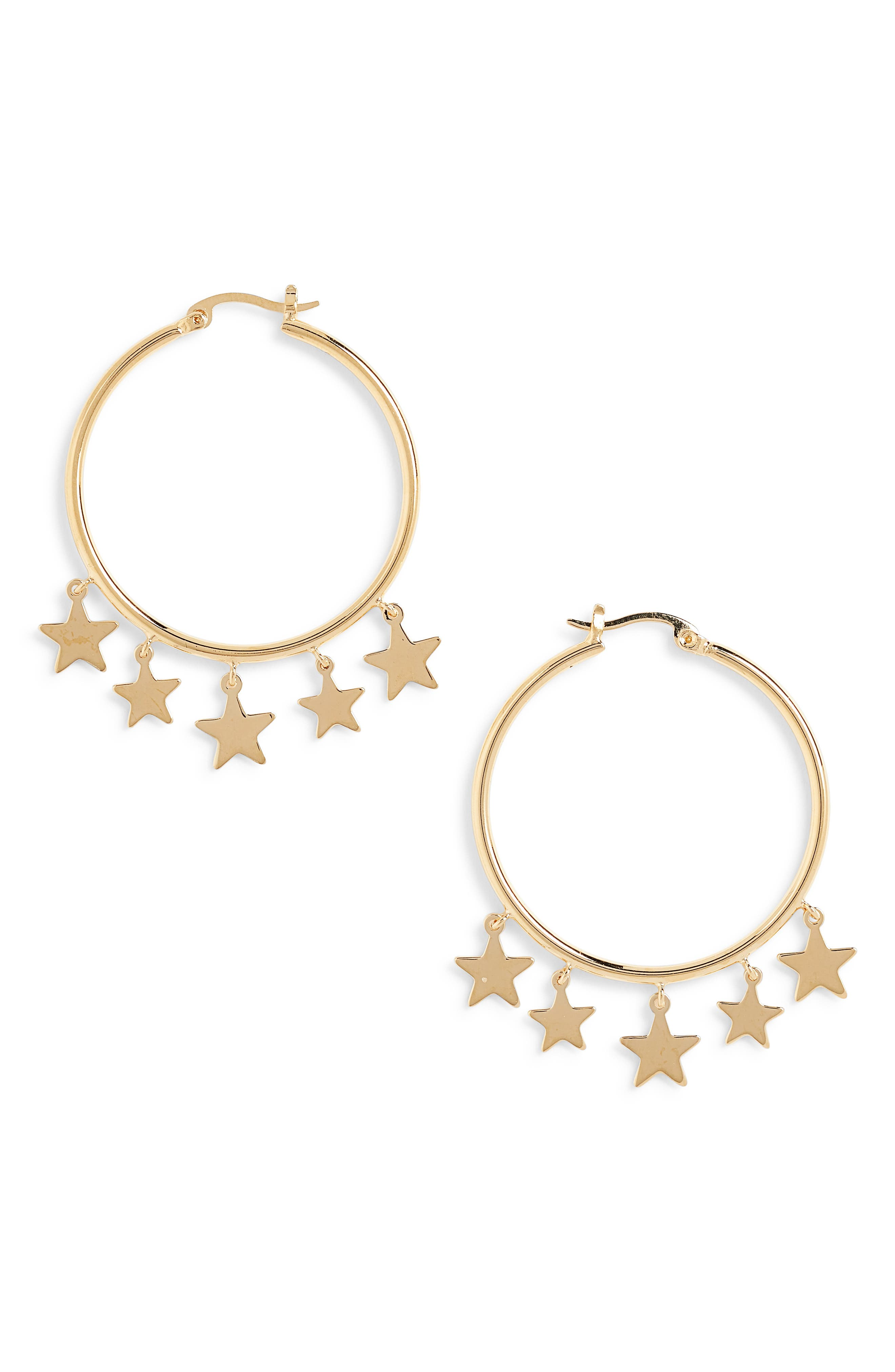 Star charms dangle delicately from contemporary hoop earrings plated in gleaming 14-karat gold. Style Name: Sterling Forever Star Dangle Hoop Earrings. Style Number: 5763963. Available in stores.