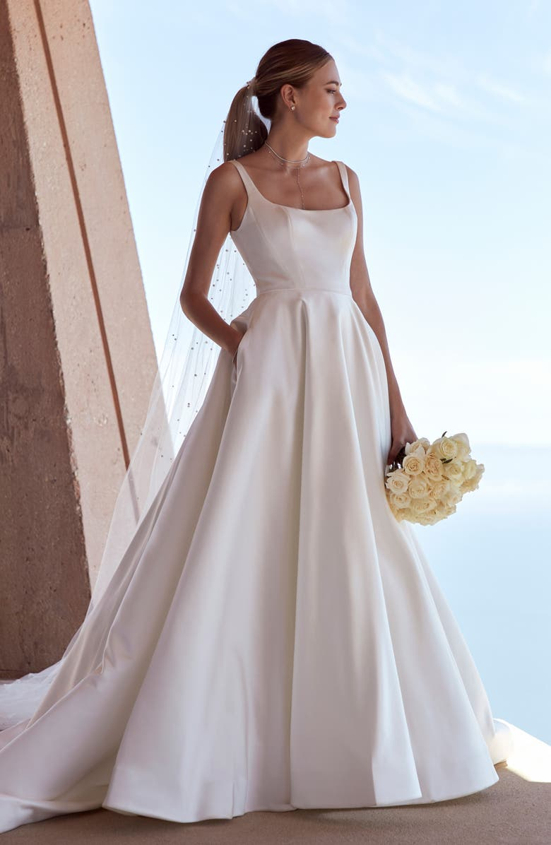 WATTERS Kitt Satin Wedding Dress, Main, color, IVORY