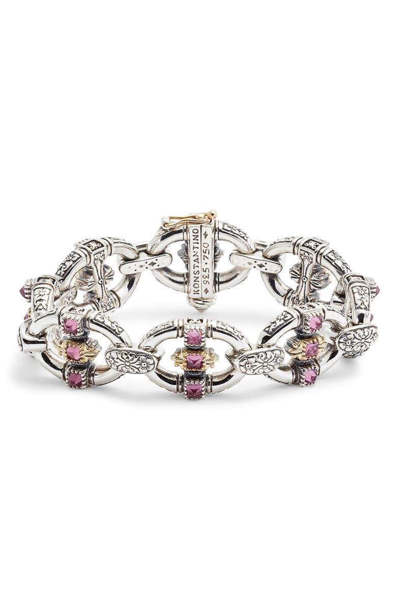 KONSTANTINO Trillion Chain Link Stone Bracelet, Main, color, SILVER/ GOLD/ RHODOLITE