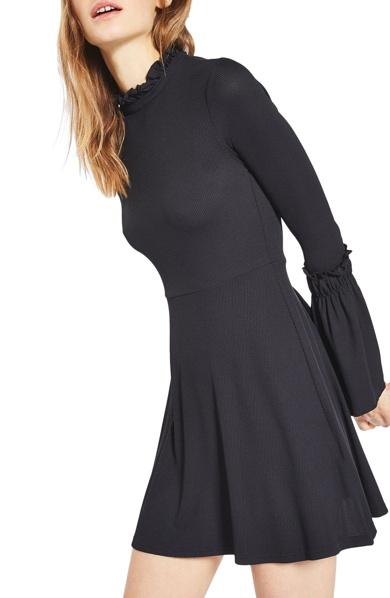,                             Fluted Ribbed Skater Dress,                             Main thumbnail 1, color,                             001