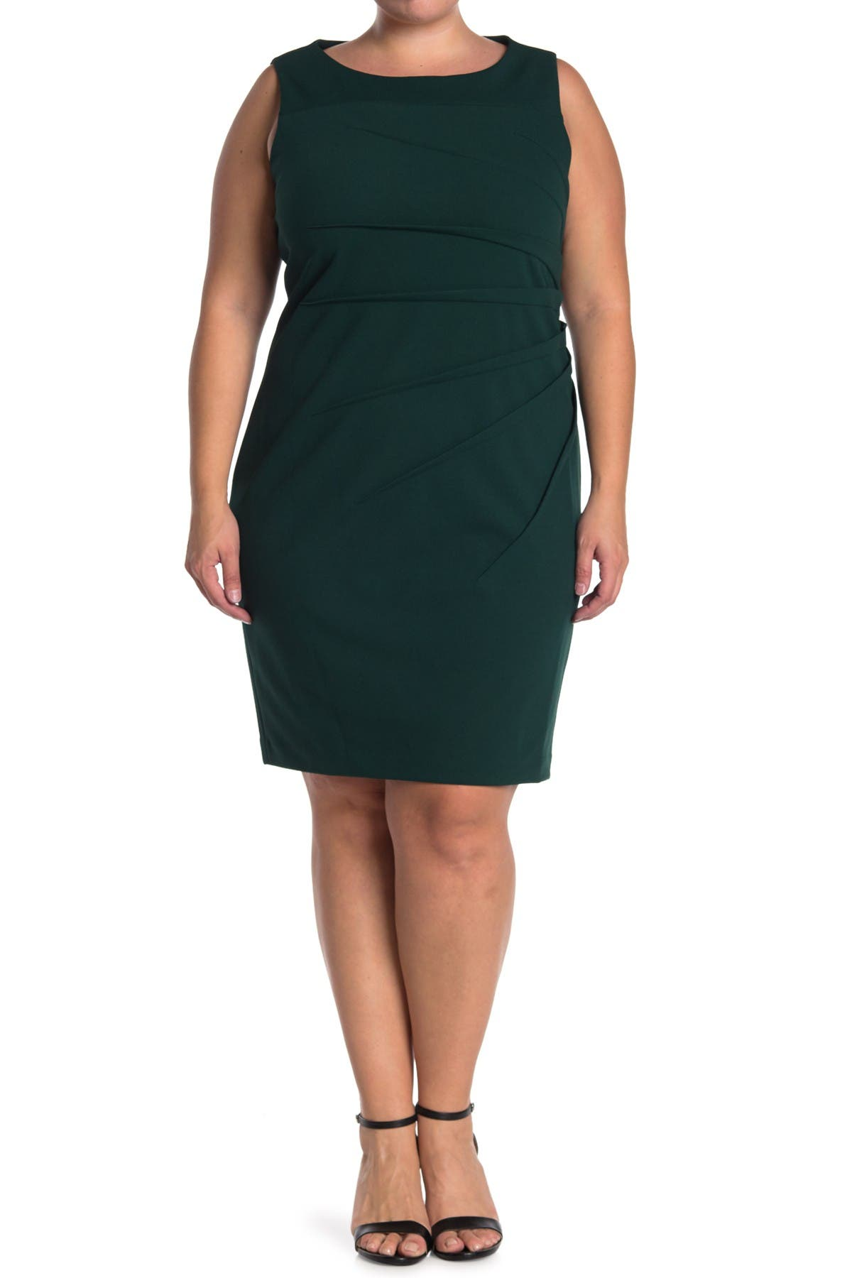 Image of Calvin Klein Starburst Pleat Sleeveless Sheath Dress