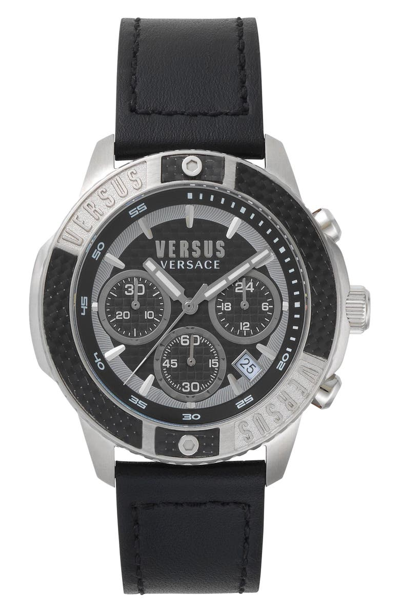VERSUS VERSACE Admiralty Chronograph Leather Strap Watch, 44mm, Main, color, 003